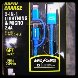 Brand New Rapid Charge 2-in-1 Lightning & Micro